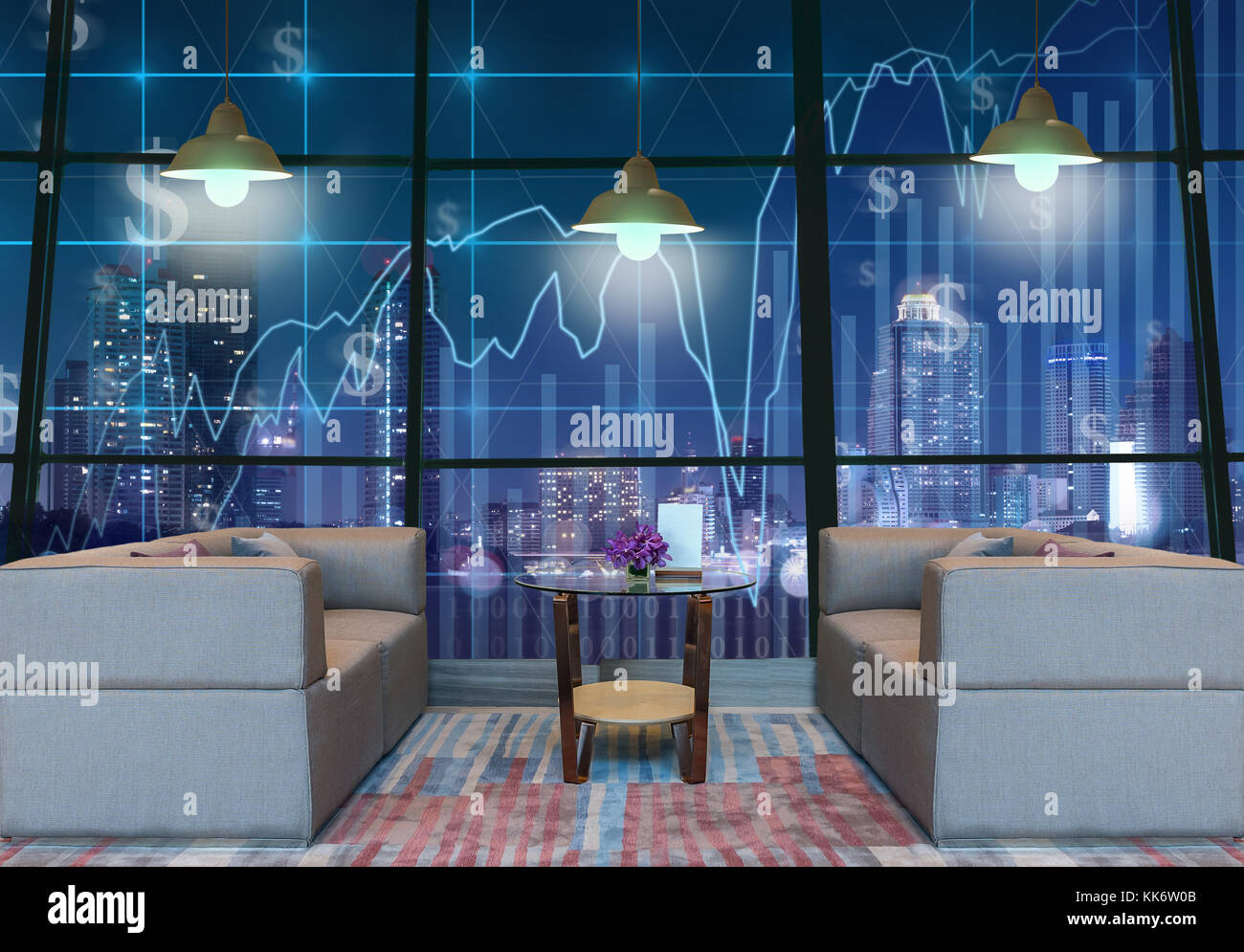 Lobby area of a hotel which can see Trading graph on the cityscape at night background with lighting,Business financial - Stock Image