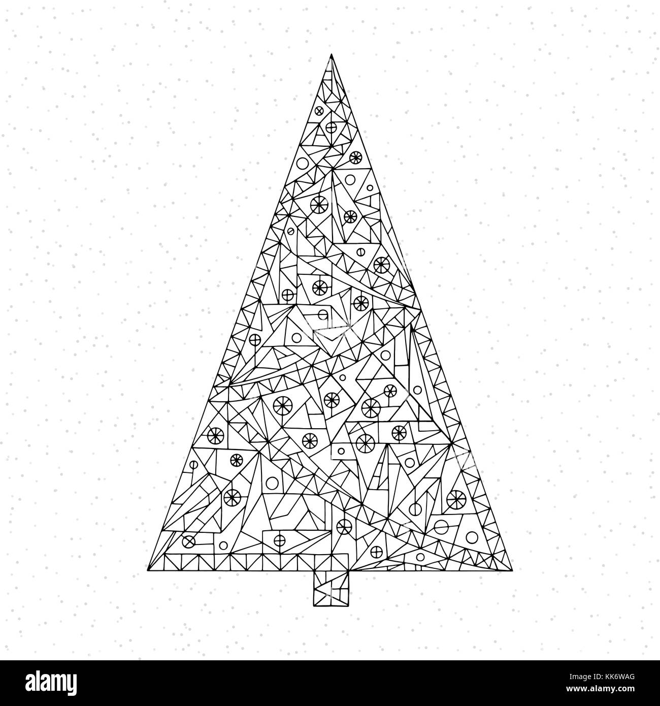 Christmas Tree Coloring Page Hand Drawn Abstract Winter Holidays Vector Illustration Xmas Background In Modern Style Happy New Year Art