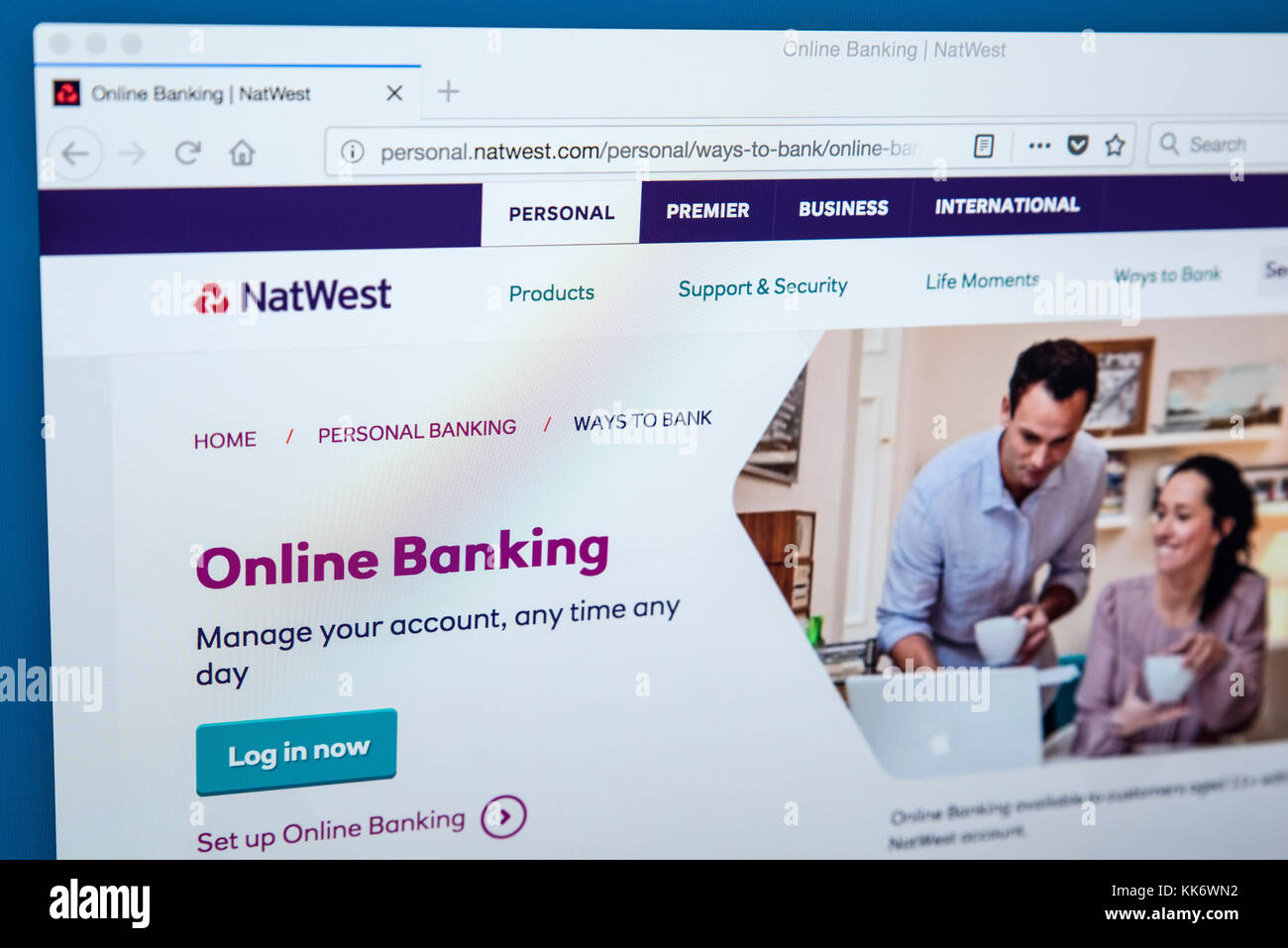 LONDON, UK - NOVEMBER 22ND 2017: The homepage of the Online Banking area on the Natwest bank website, on 22nd November - Stock Image