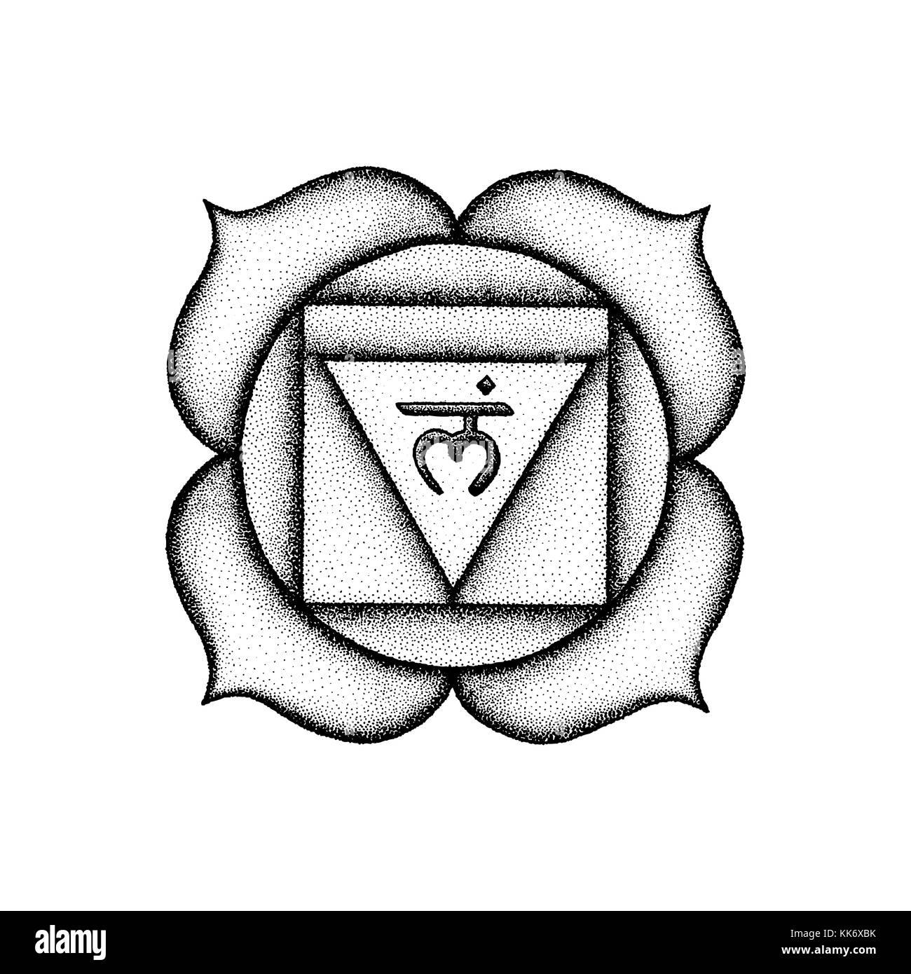 Vector first root chakra Muladhara sanskrit seed mantra Lam