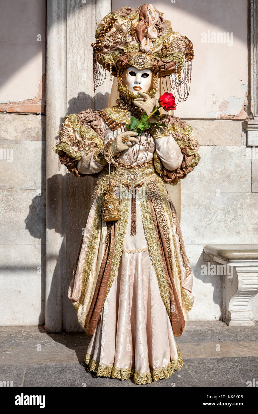 A woman dressed up for the Carnival in Venice, Italy - Stock Image