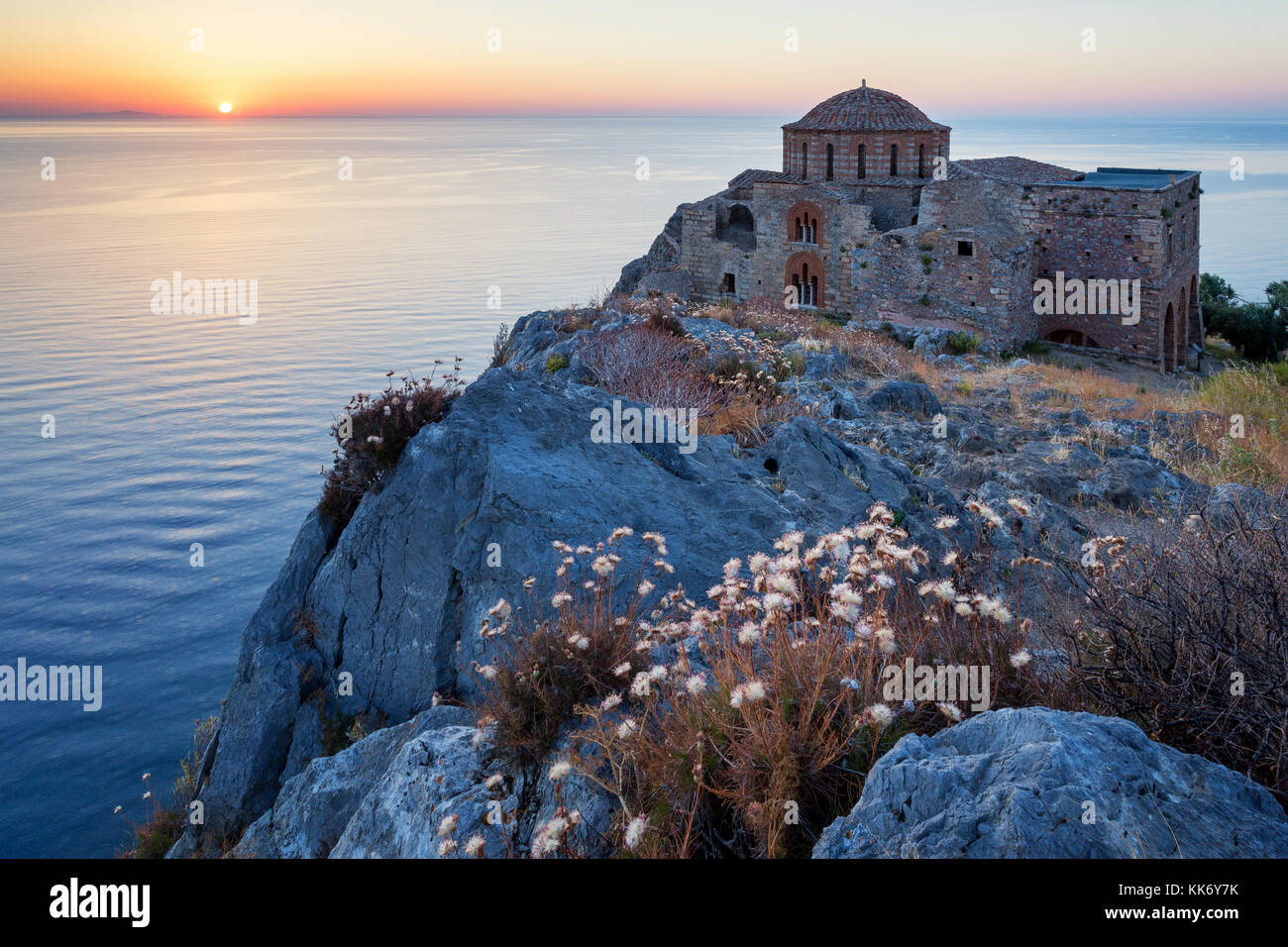 The Church of Agia Sofia in Monemvasia at sunrise, Peloponnese, Greece - Stock Image