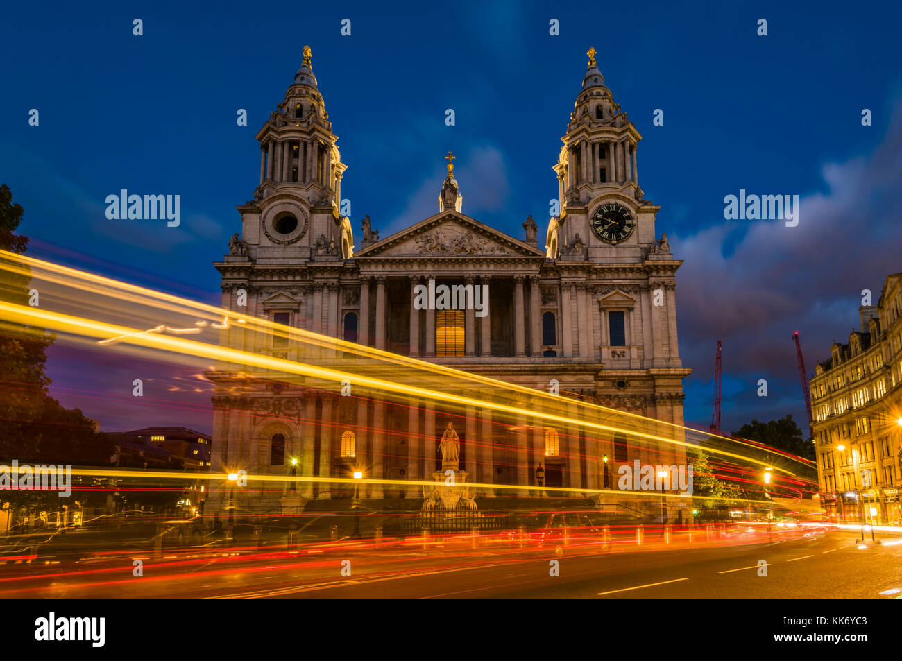 Car lights around dusk at St Paul's Cathedral, London, UK - Stock Image