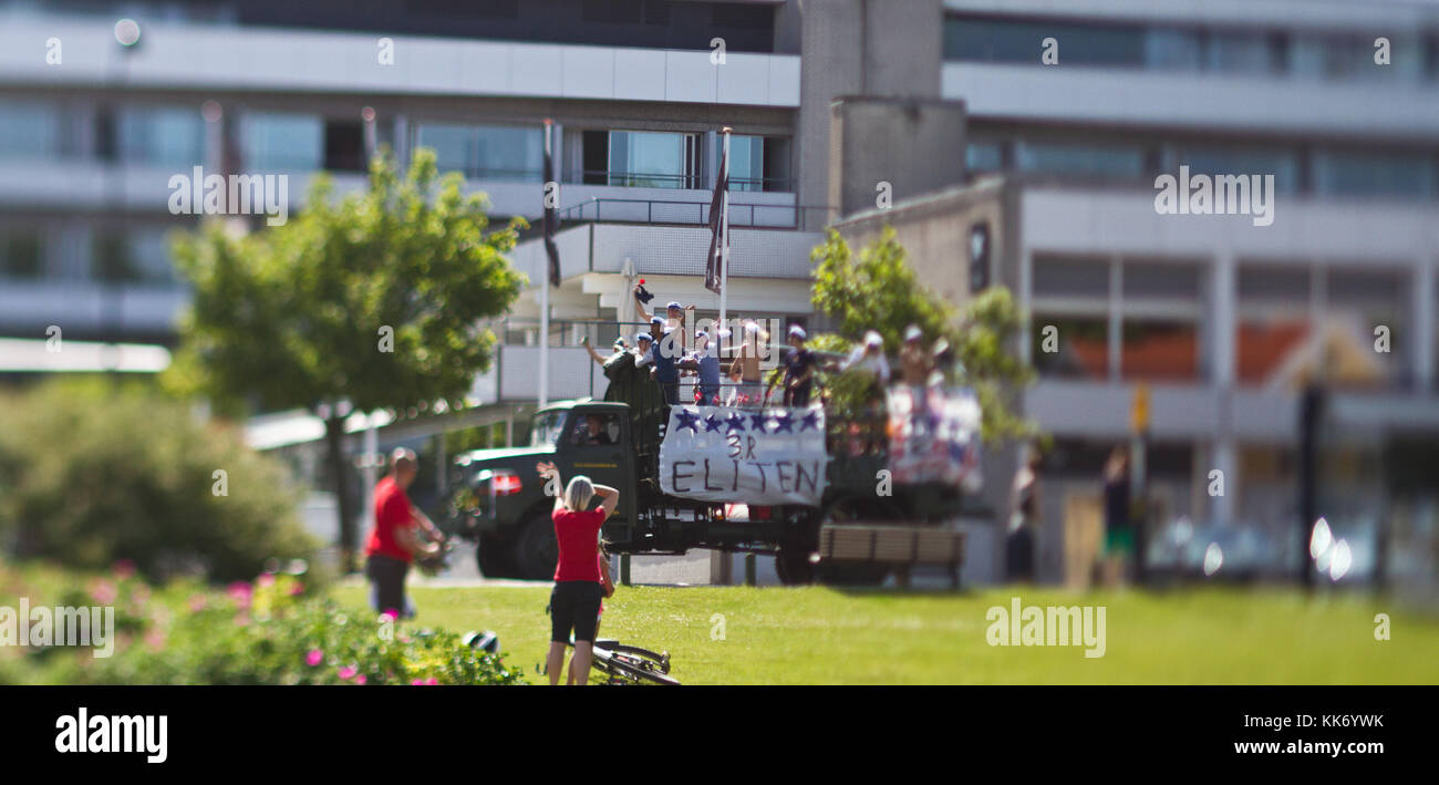 Student bus in denmark. Party celebrating the end the high school - Stock Image