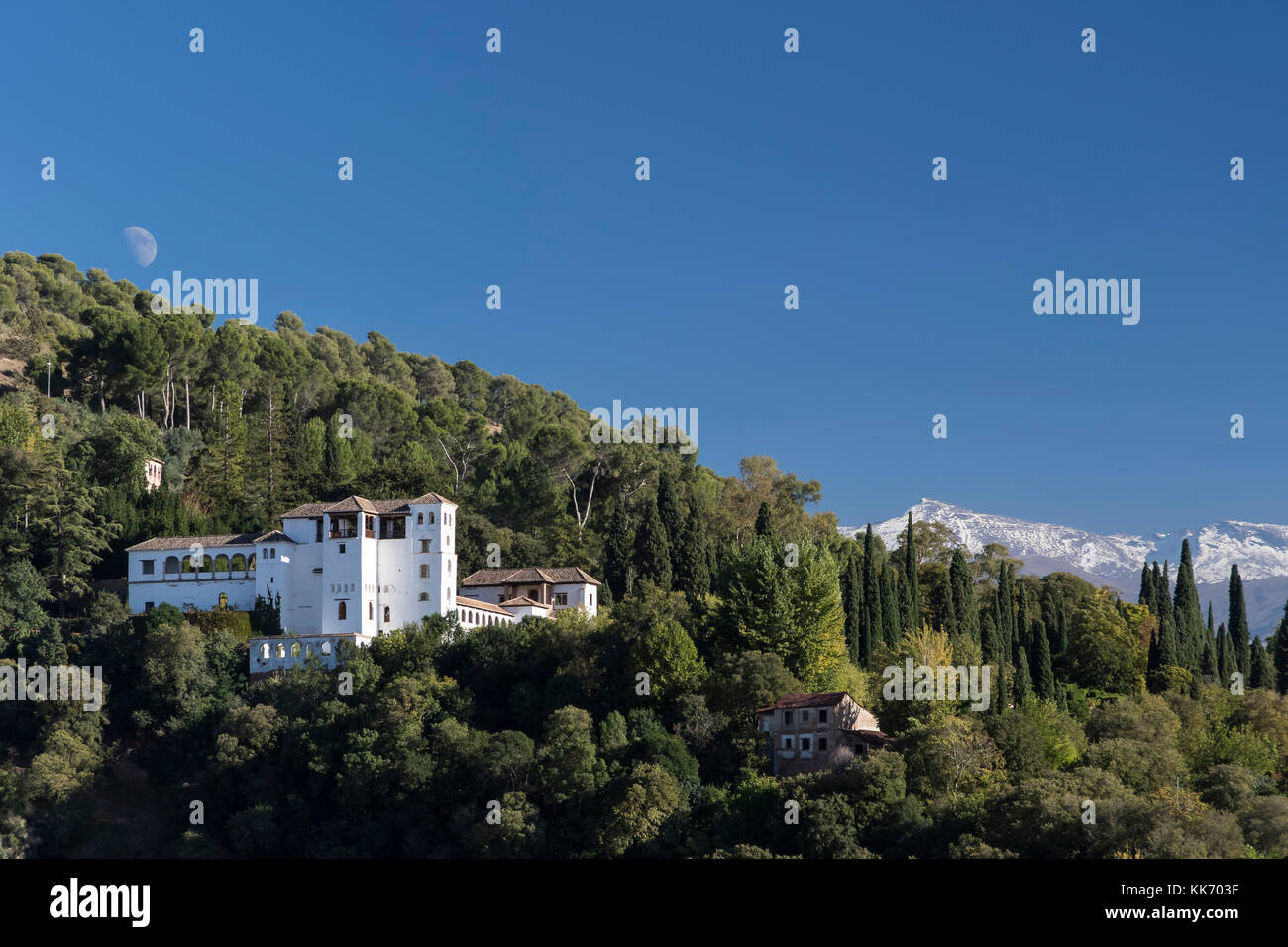 Granada, Spain. October, 2017. The Generalife seen from viewpoint of Albaicin - Stock Image
