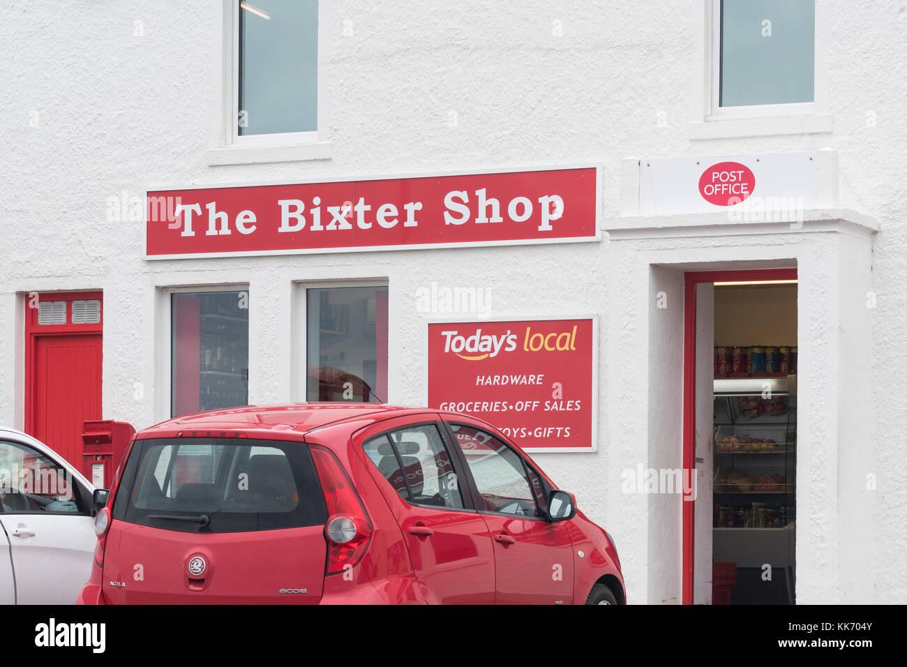 Shetland Islands shop and post office at Bixter, Shetland, Scotland, UK - Stock Image