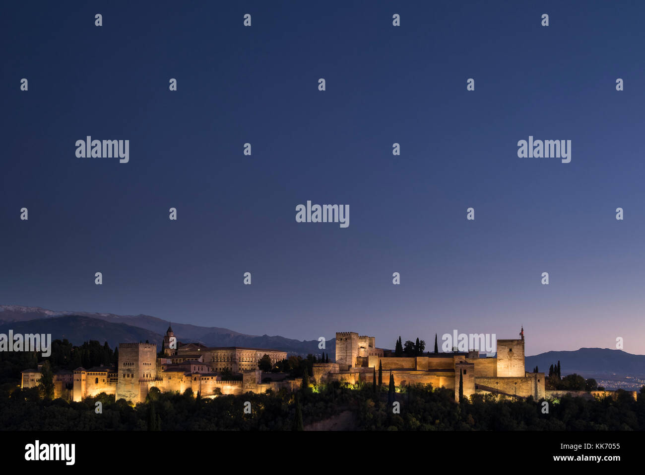 Granada, Spain. October, 2017. The Alhambra seen from viewpoint of Albaicin - Stock Image