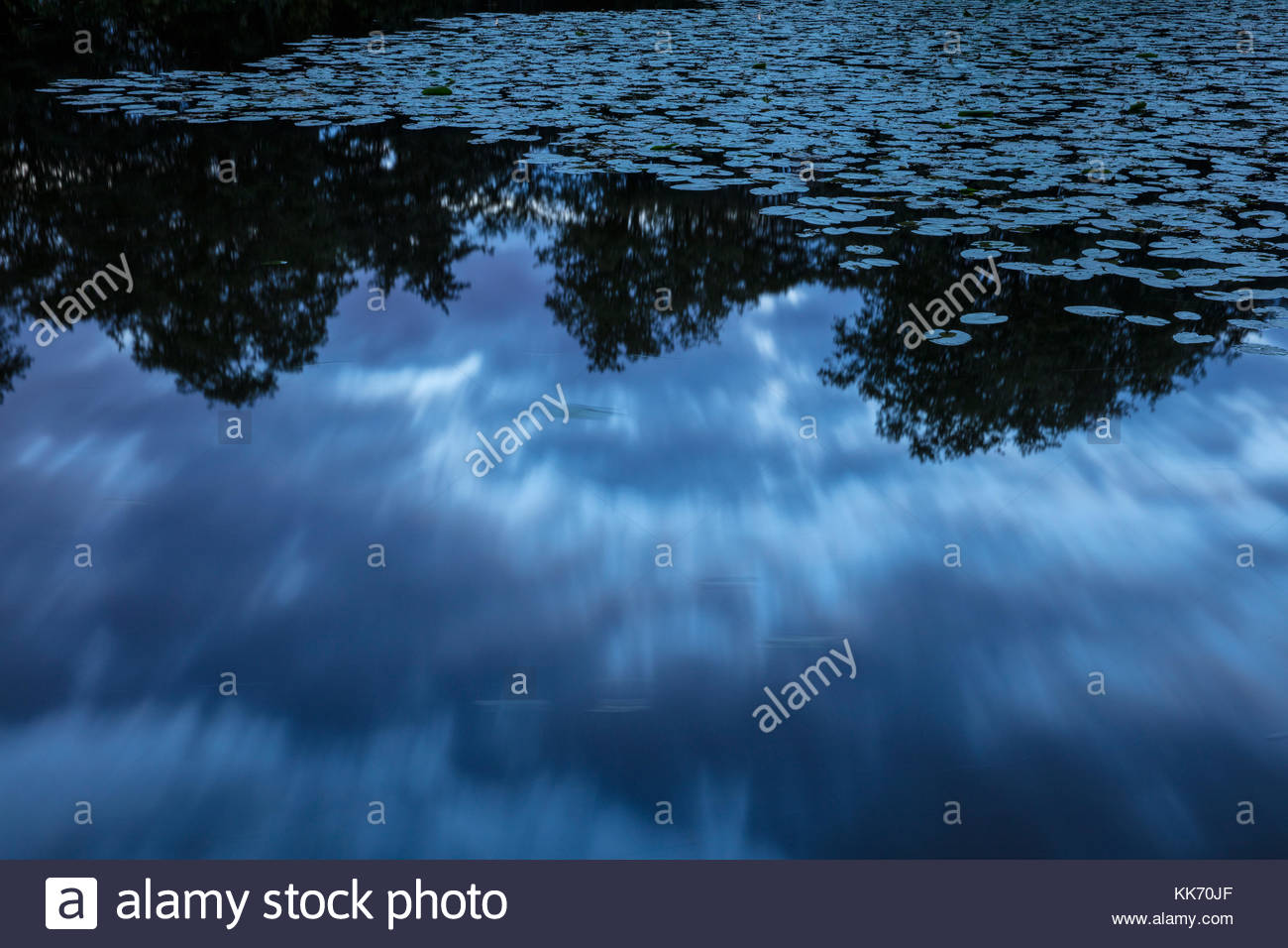 A long exposure captures the motion of dark storm clouds, which are reflected on a large pond, partially covered - Stock Image