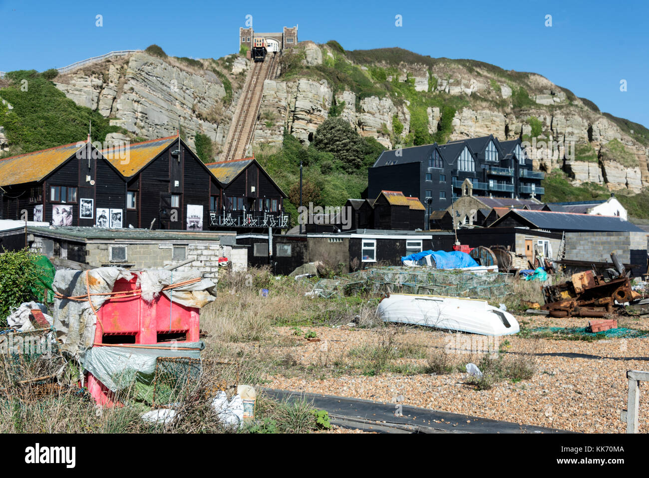 The Slade shingle beach in Hastings Old Town, East Sussex, Britain.   The Slade is home to Europe's largest fleet - Stock Image