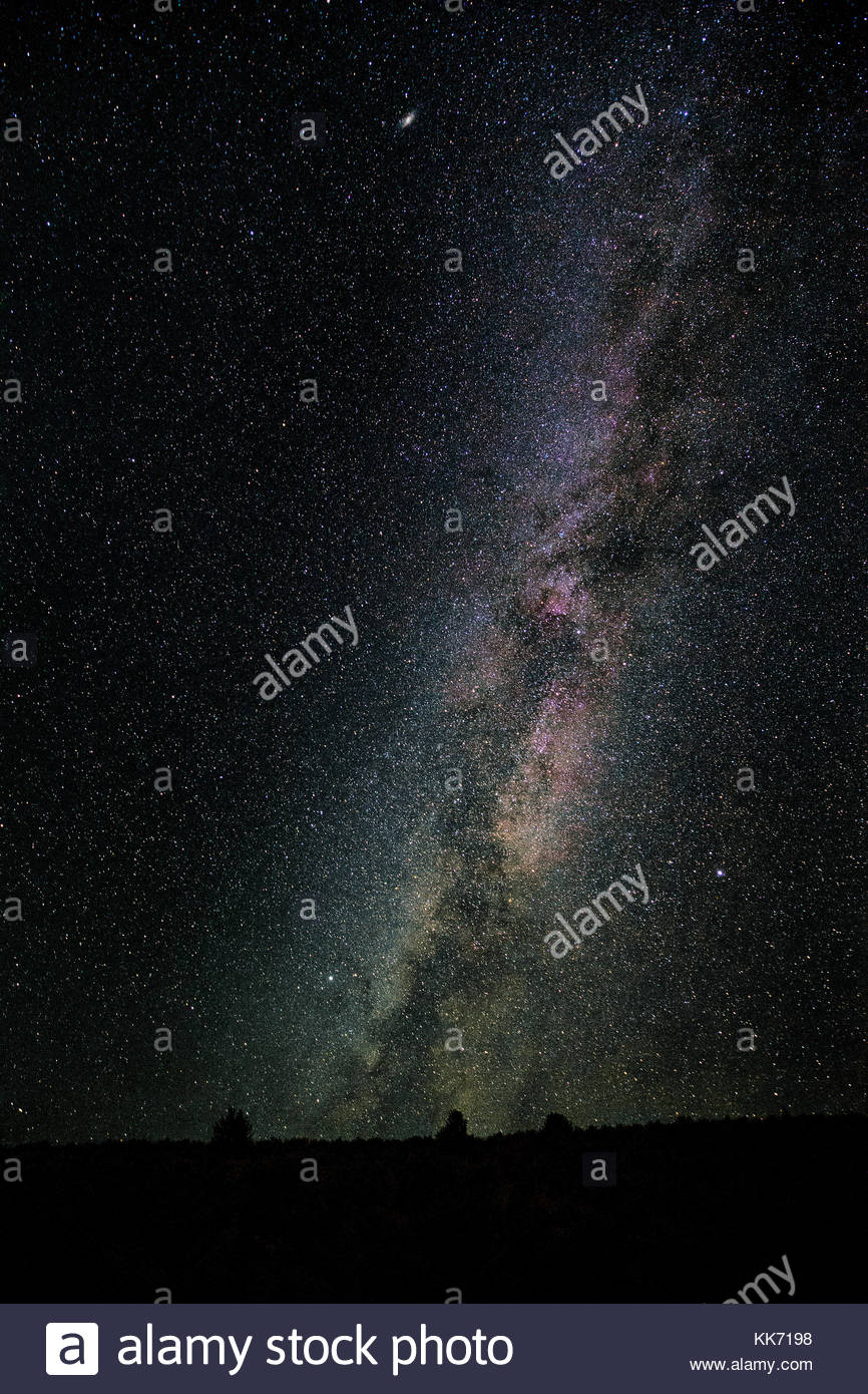 The Milky Way stretches across the sky over the Mormon Basin in Malheur County, Oregon. The Milky Way is the galaxy that contains our solar system and Stock Photo