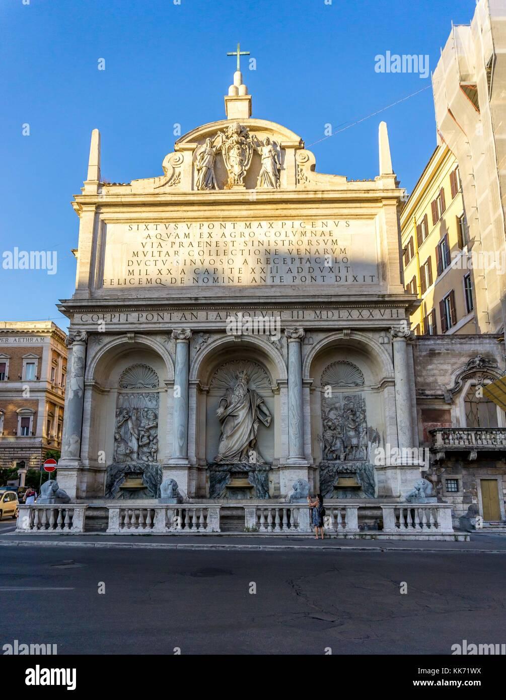 Fontana dell Acqua Felice,( the fountain of moses),Piazza di S. Bernardo, 00185 Roma RM, Italy - Stock Image