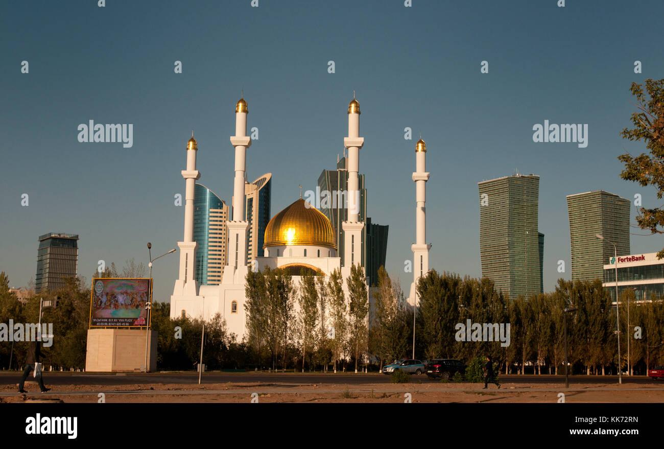 The glittering Nur Astana Mosque, Astana (Kazakhstan) Stock Photo
