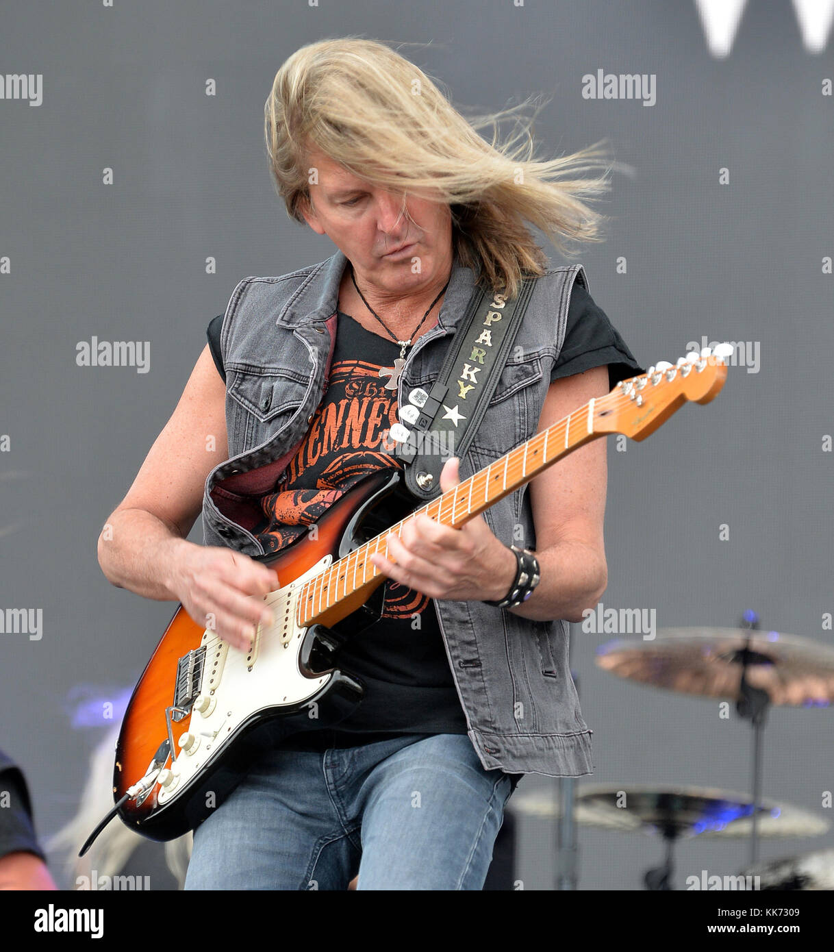 FORT LAUDERDALE, FL - APRIL 16: Mark Matejka of Lynyrd Skynyrd performs onstage during Tortuga Music Festival on Stock Photo