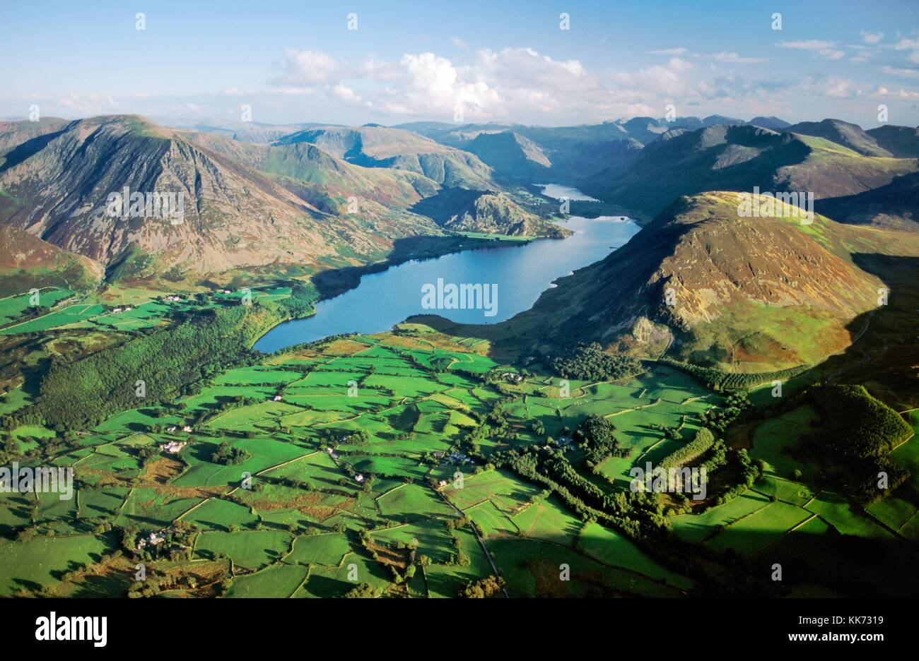 Lake District National Park. View southeast over Crummock Water, Grasmoor, Buttermere to the central fells. Cumbria. England Stock Photo