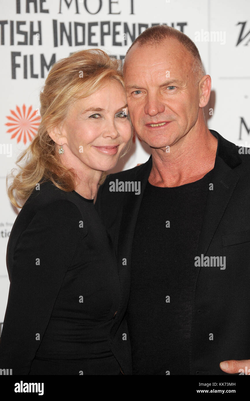 Sting and Trudie Styler attend the Moet British Independent Film Awards 2013 at Old Billingsgate Market in London. 8th December 2013 © Paul Treadway Stock Photo