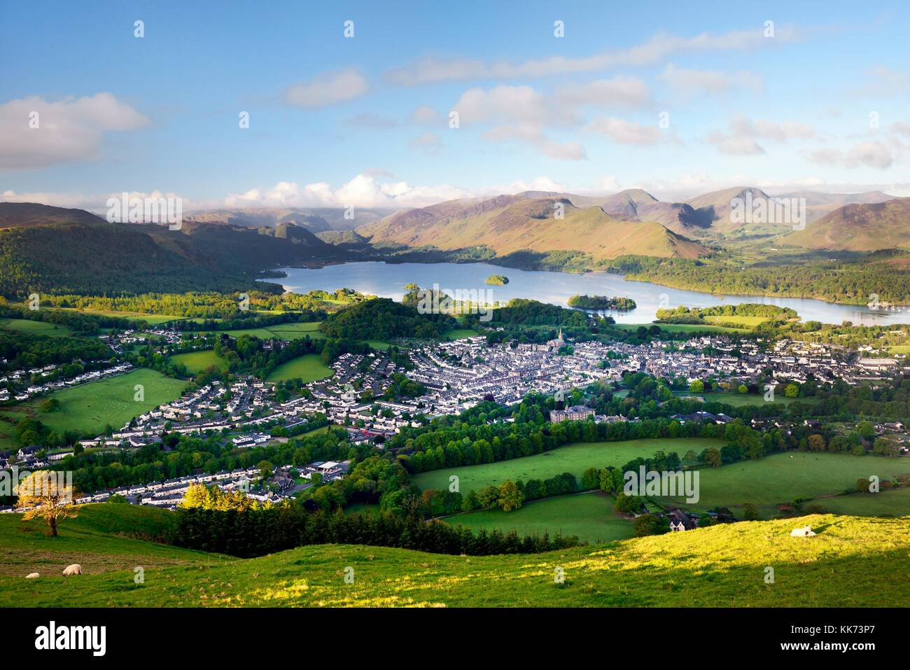 Lake District National Park, Cumbria, England. South over Keswick town and Derwentwater to Borrowdale. Summer morning - Stock Image