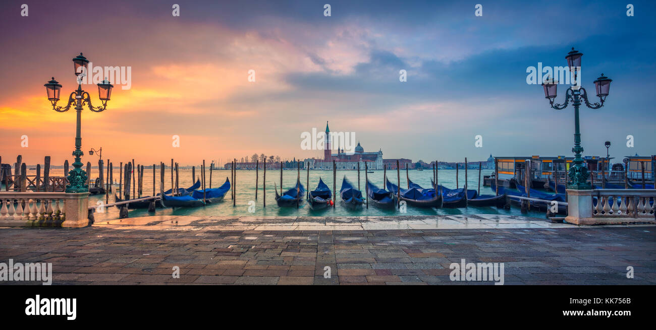 Venice Panorama. Panoramic cityscape image of Venice, Italy during sunrise. - Stock Image