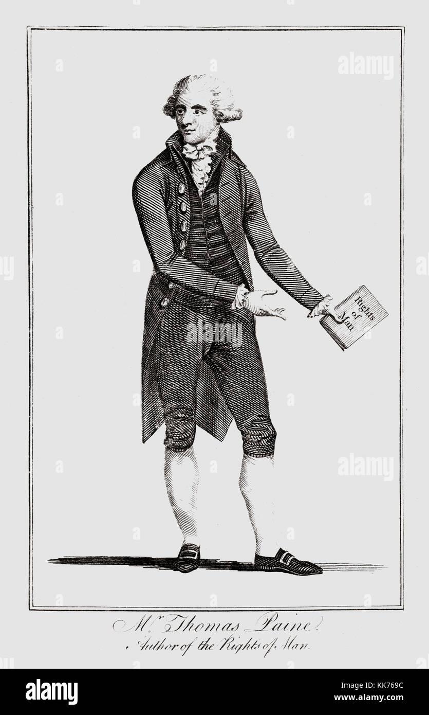 Thomas Paine, 1737-1809.  English-born American writer and political pamphleteer and a Founding Father of the United - Stock Image
