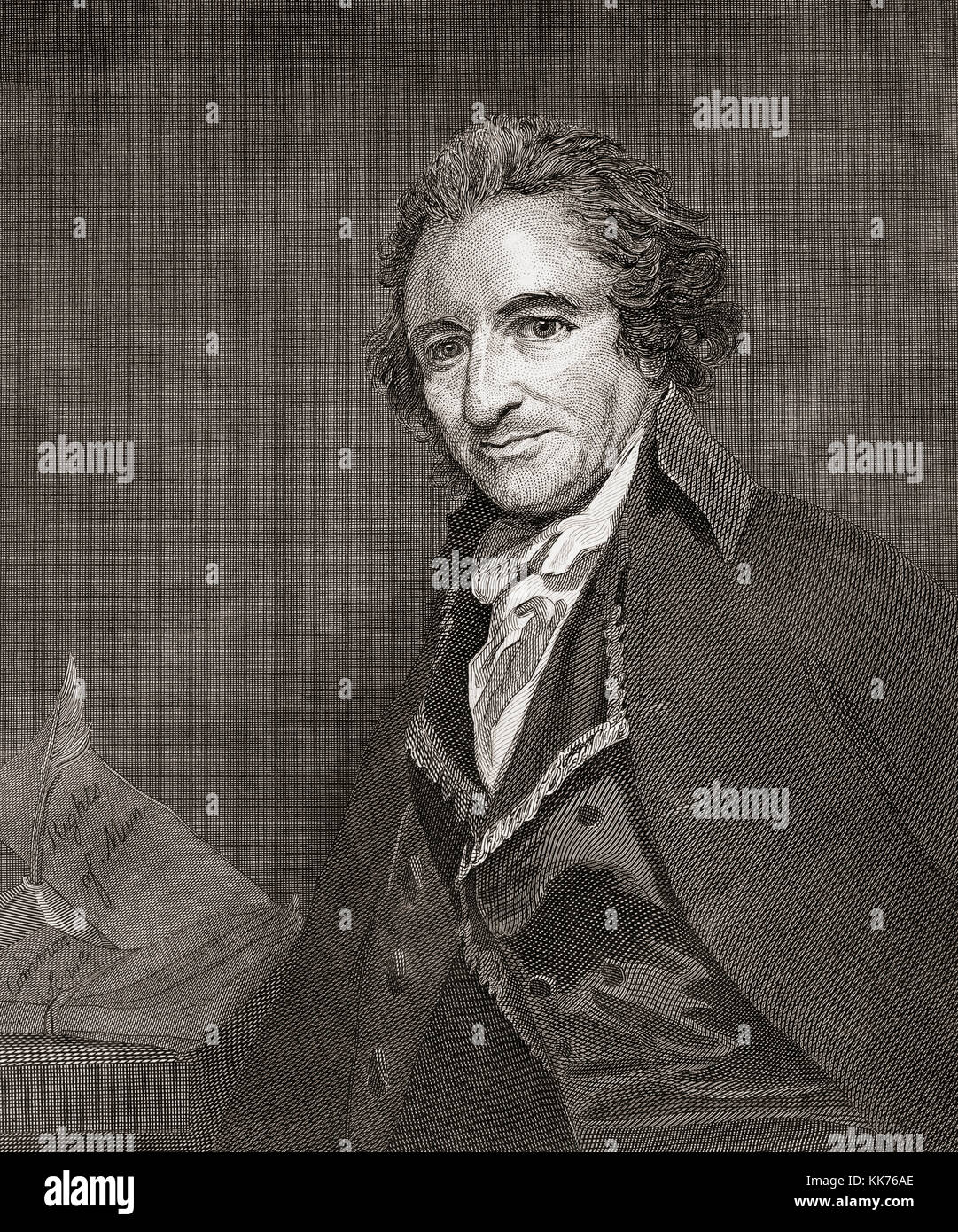 Thomas Paine,1737-1809.  English-born American writer and political pamphleteer and a Founding Father of the United Stock Photo