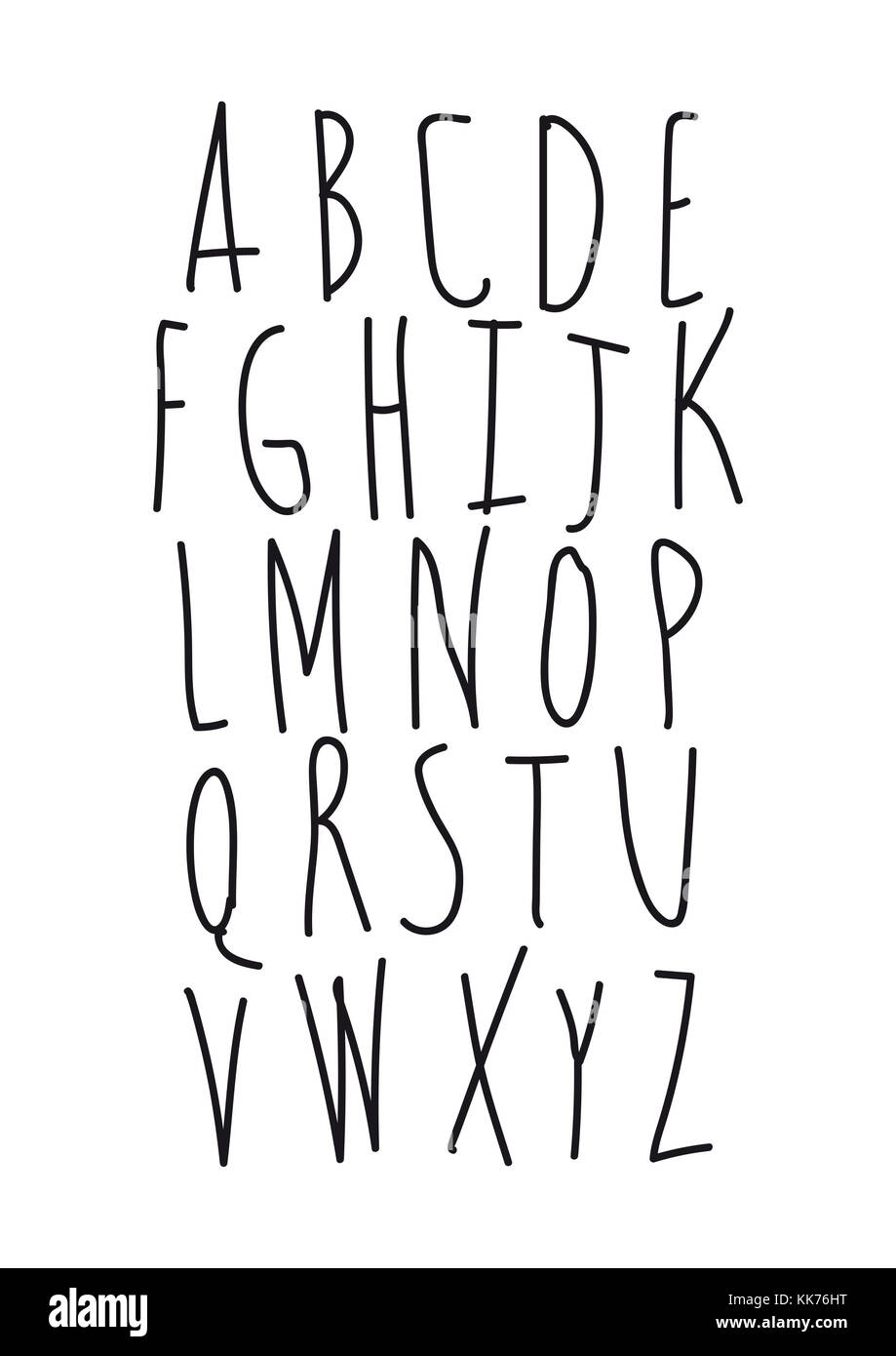 black infantile letters, text on white background - Stock Image