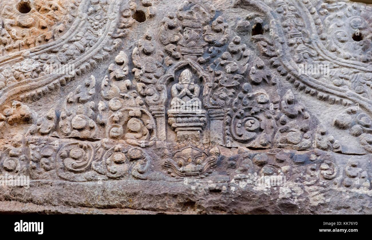 The ruins of the pre-Angkorian Khmer Hindu temple of Wat Phou, Champasak Province, Laos, southeast Asia - Stock Image