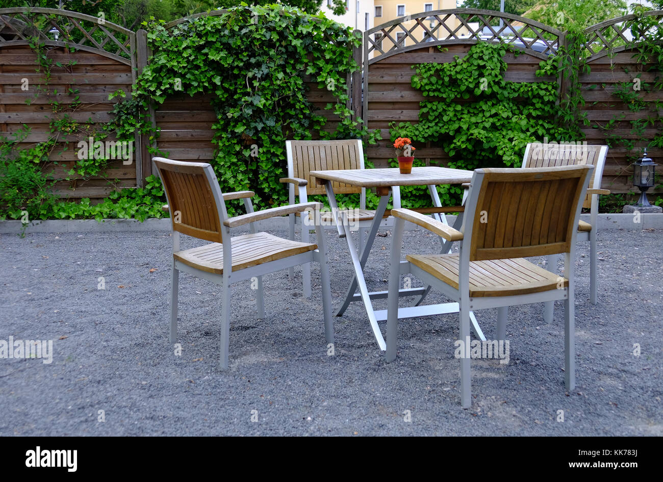 Outdoor furniture with table and four chairs stock image