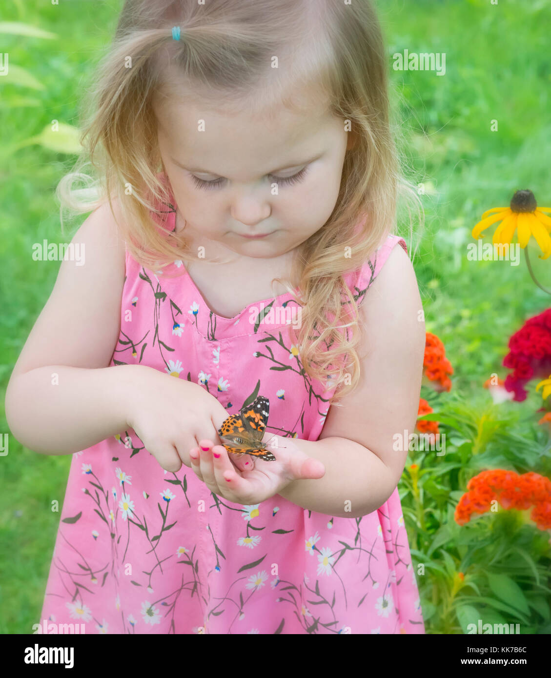Child in a flower garden holding a painted lady butterfly on her finger Stock Photo