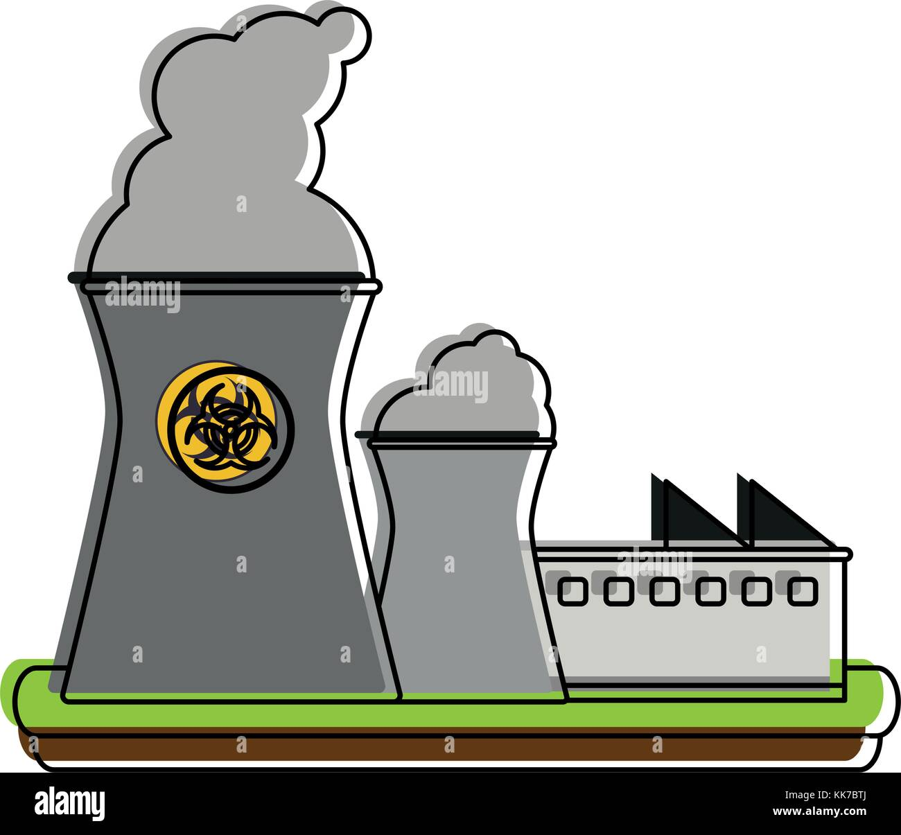 Nuclear plant industry - Stock Vector