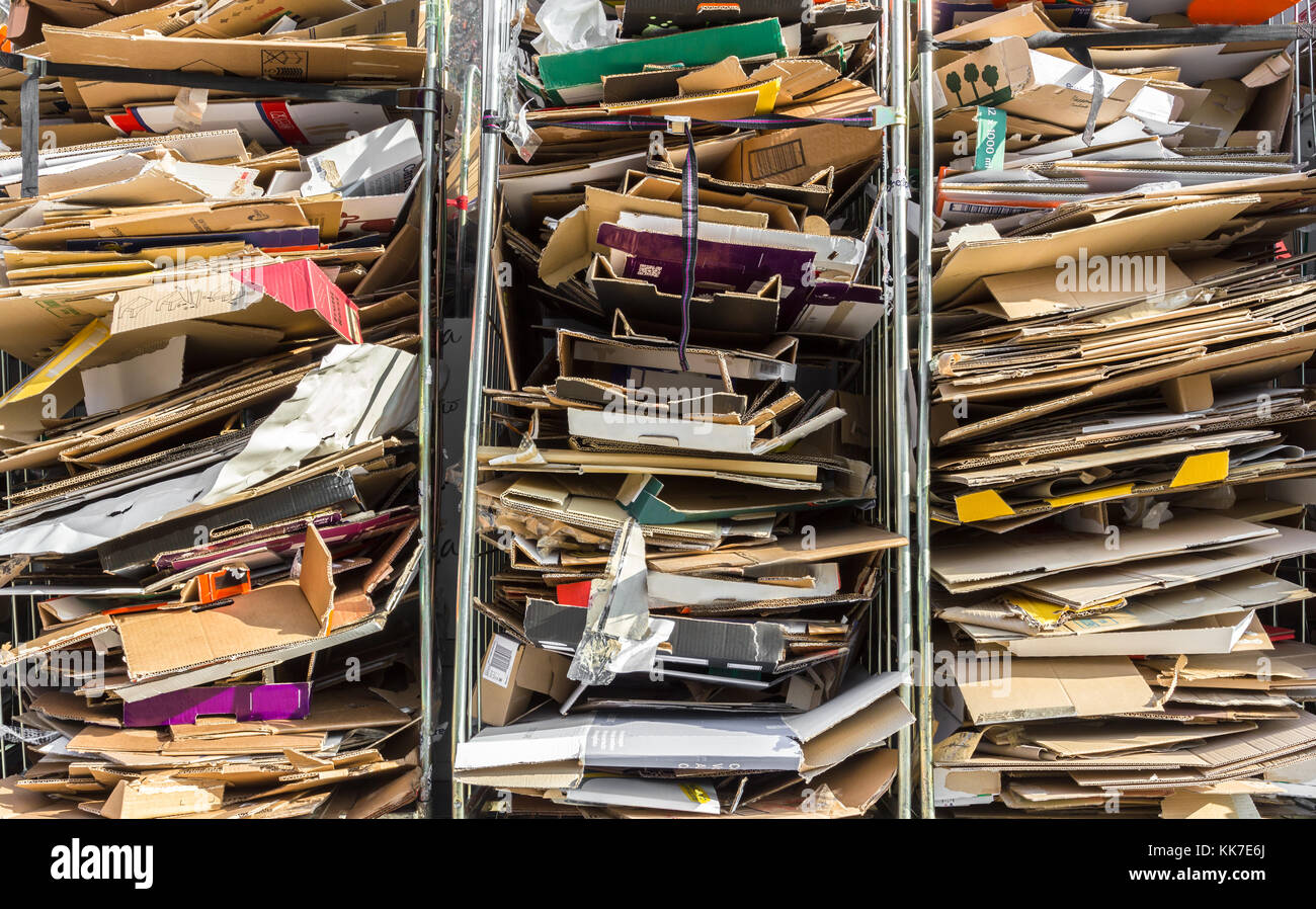 Stack of paper for recycling in metal containers Stock Photo