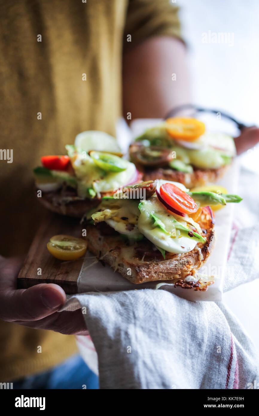 Open avocado sandwich - Stock Image