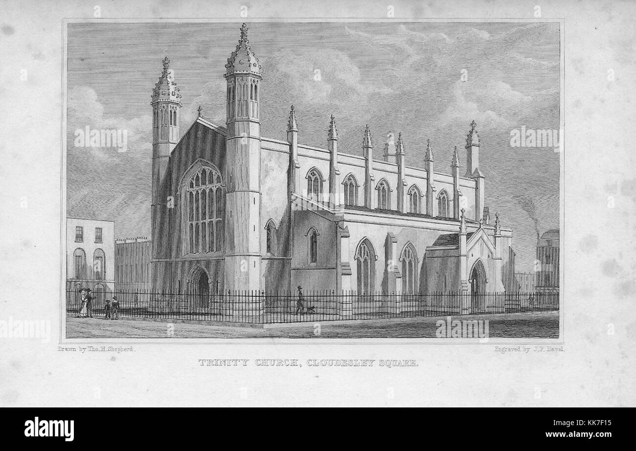 Trinity Church, Cloudesley Square, engraving from 'Metropolitan Improvements, or London in the Nineteenth Century' - Stock Image