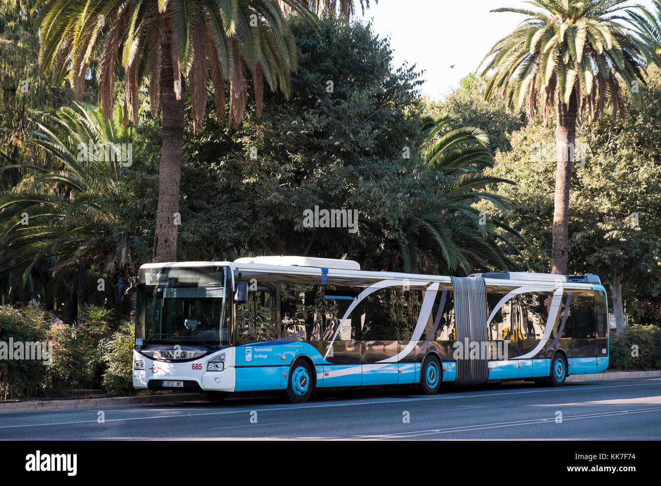 Articulated bus in Málaga. Spain. - Stock Image