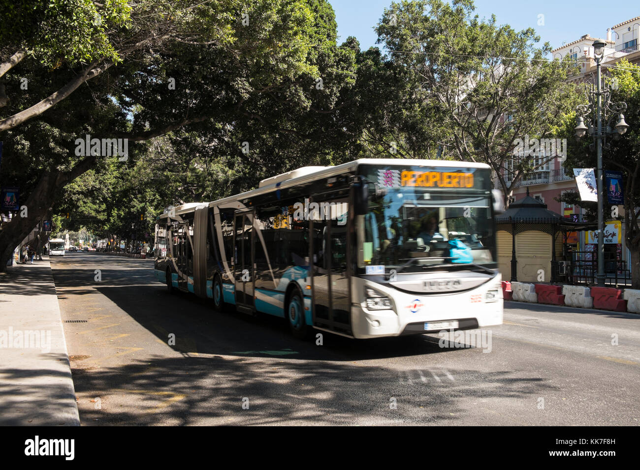 Articulated bus in Málaga, Spain. - Stock Image