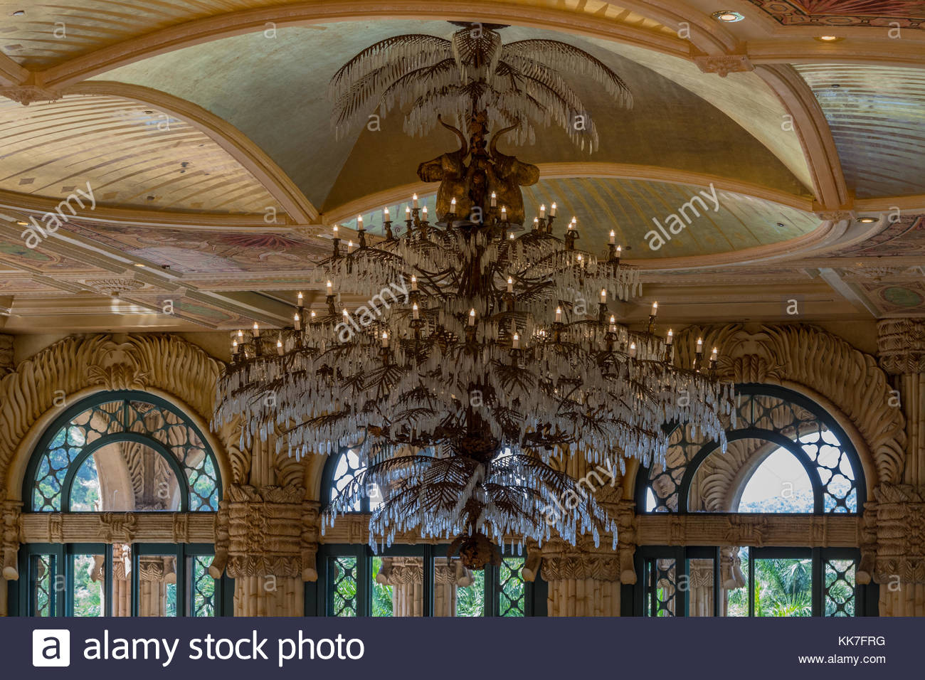 An ornate crystal chandelier in the dining room of the palace hotel an ornate crystal chandelier in the dining room of the palace hotel sun city pilanesburg south africa arubaitofo Image collections