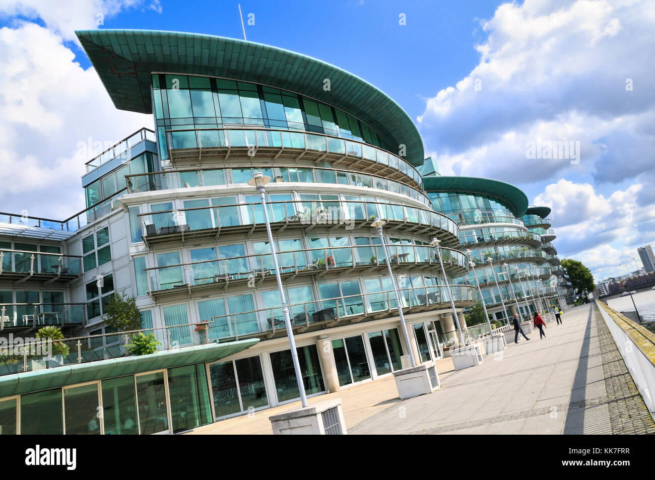 Riverside apartments on the Thames Path at Hermitage Wharf, Wapping, Tower Hamlets, East London, UK - Stock Image
