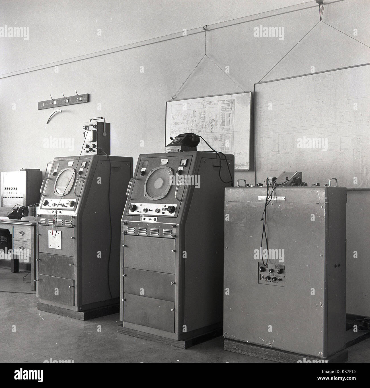 1950s, England, long-distance telecommunication machines of the Marconi Wireless Company. - Stock Image