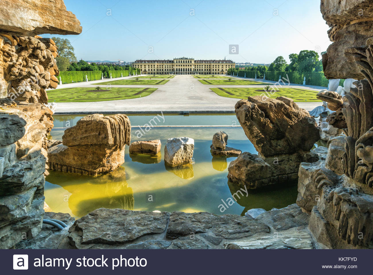 View from Neptune Fountain to Schönbrunn Palace in soft daylight - Stock Image