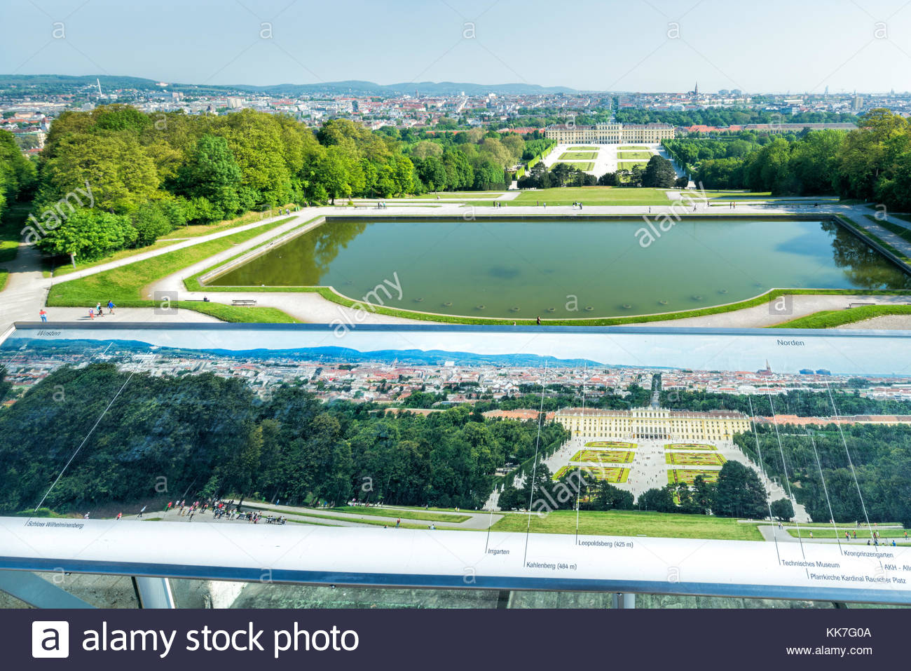 View from the top of Gloriette down to Schönbrunn Palace with park including tourist orientation map - Stock Image
