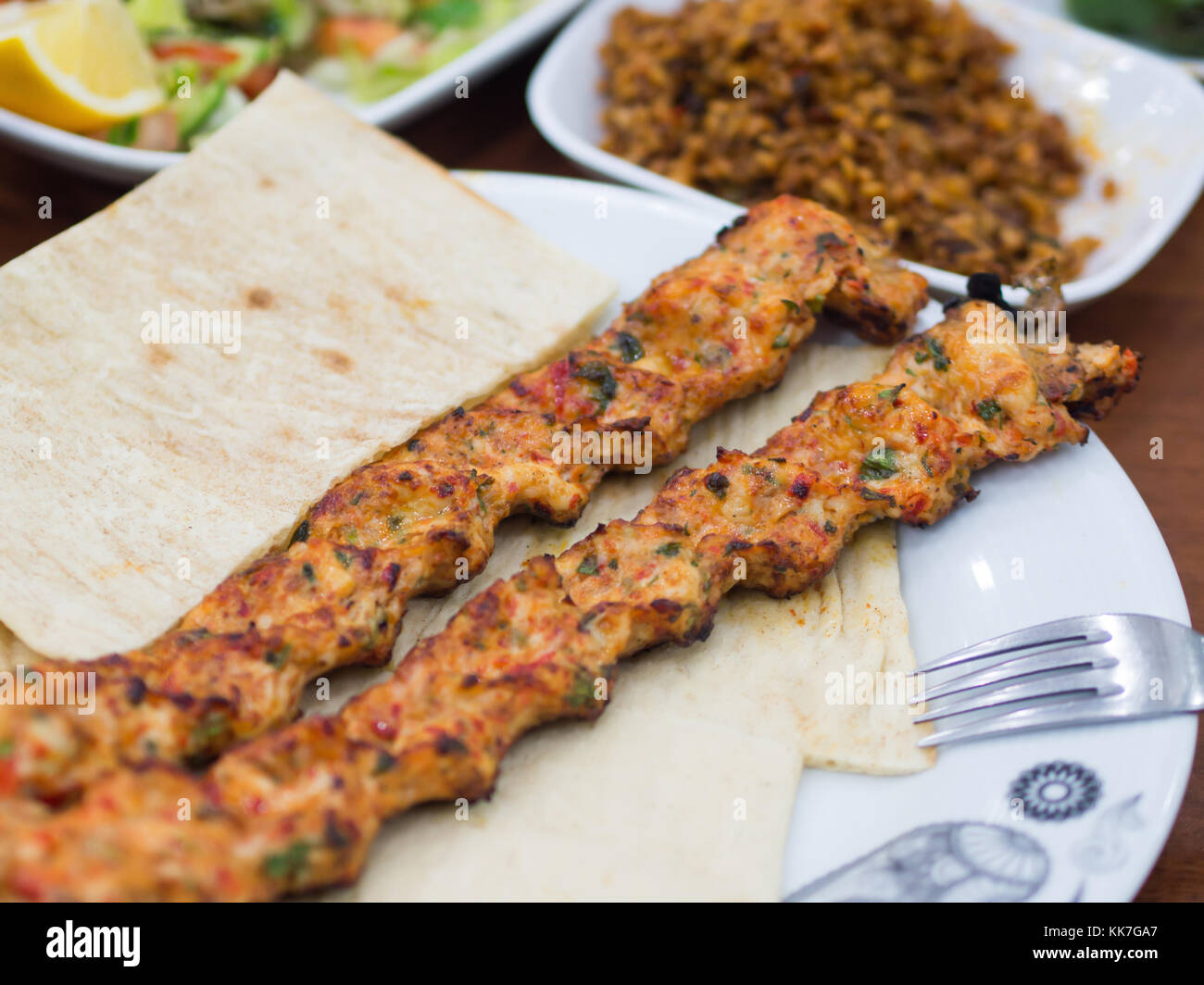 White Plate Of Bread And Turkish Kebab Stock Photo Alamy