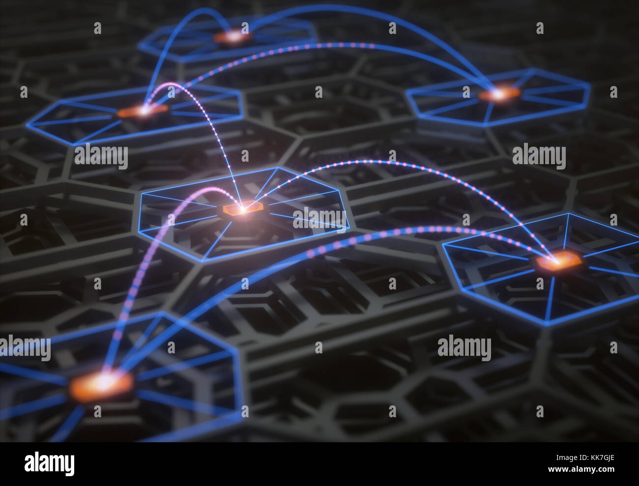3D illustration. Conceptual image of a complex and abstract technological structure with connections and data transfer. - Stock Image