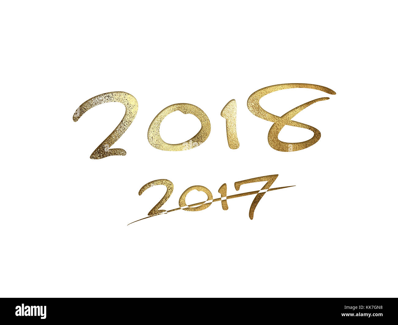 The golden glitter isolated hand writing word year 2018 on white background - Stock Image