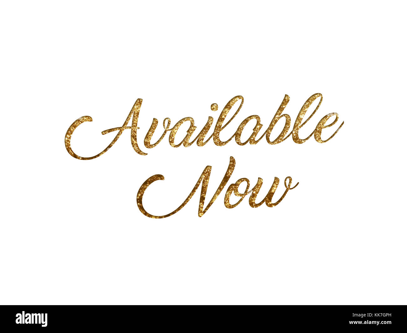 The Golden glitter isolated hand writing word AVAILABLE NOW on black background - Stock Image