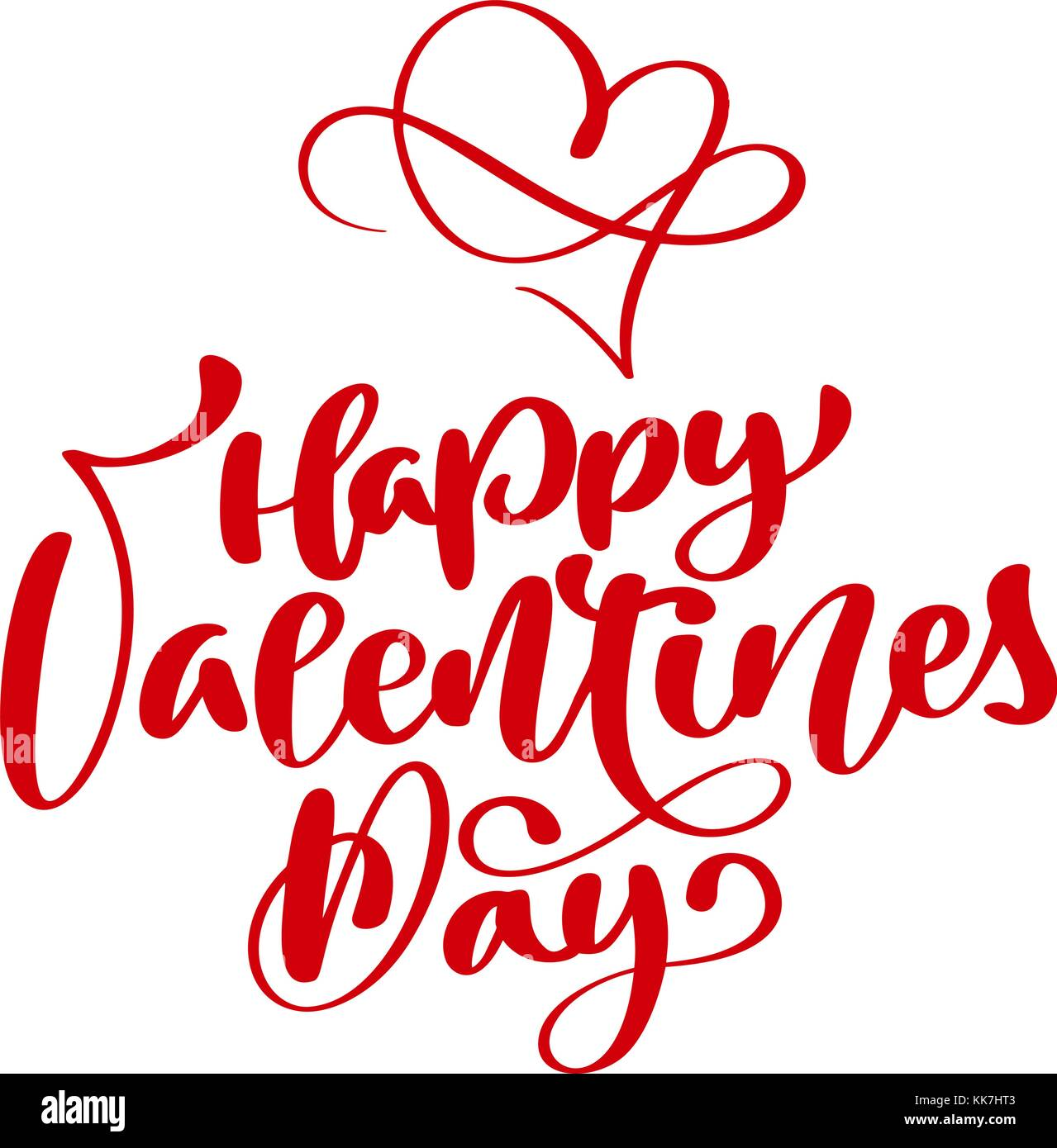 Red Happy Valentines Day Typography Poster With Handwritten Calligraphy Text Isolated On White Background Vector Illustration