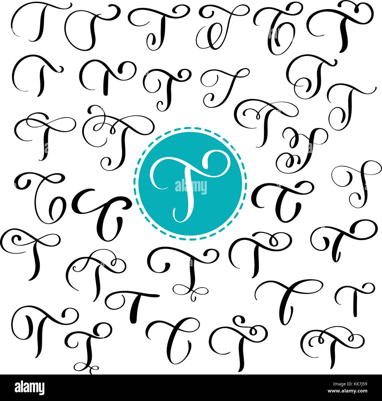 Set letter T. Hand drawn vector flourish calligraphy. Script font. Isolated letters written with ink. Handwritten - Stock Image