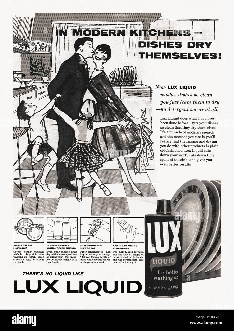 An advert for Lux washing up liquid. It appeared in a magazine published in the UK in 1959 and features an illustration - Stock Image