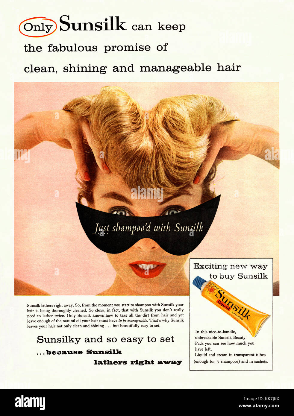 An advert for a tube of Sunsilk liquid shampoo - it appeared in a magazine published in the UK in 1959 - Stock Image