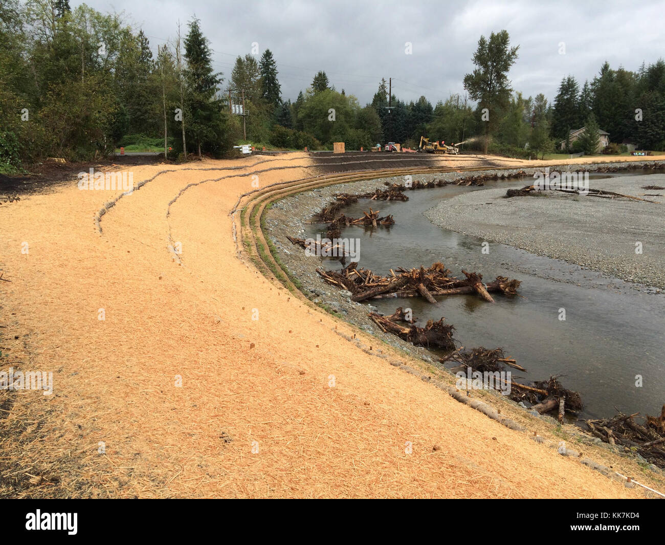 The Pilchuck River west of Granite Falls, WA has a new look today... one  that will continue to evolve. What was - Stock Image