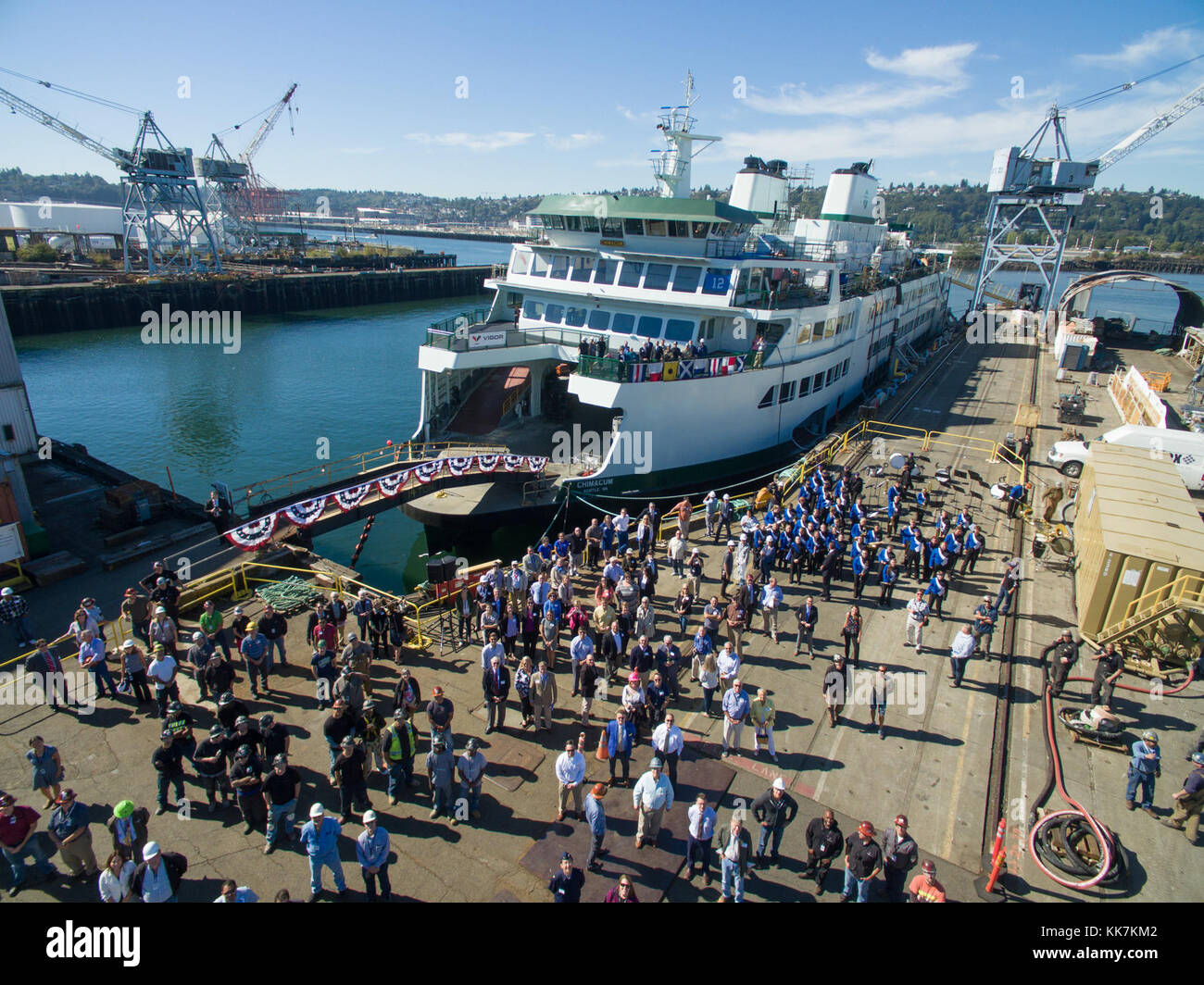 A bird's eye view of the Chimacum christening ceremony. Looking chipper, Chimacum 29785253784 o - Stock Image