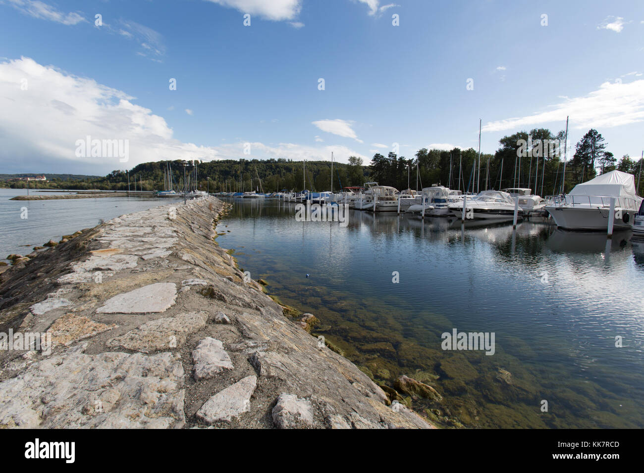 Town of Le Landeron, Switzerland. Picturesque view of Le Landeron marina at Lake Biel. - Stock Image