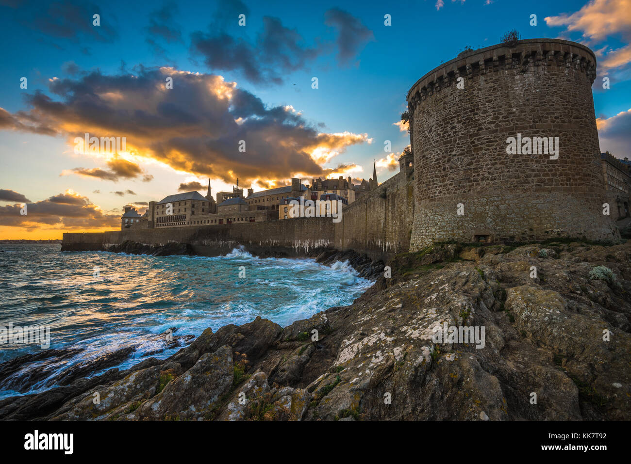 Saint-Malo, historic walled city in Brittany, France - Stock Image